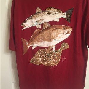 Guy Harvey Burgundy Red Graphic Shirt XL